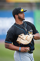 Akron RubberDucks first baseman Bobby Bradley (44) warms up before a game against the Binghamton Rumble Ponies on May 12, 2017 at NYSEG Stadium in Binghamton, New York.  Akron defeated Binghamton 5-1.  (Mike Janes/Four Seam Images)