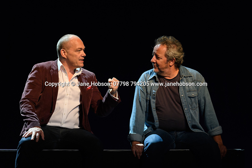 Edinburgh, UK. 08.08.2017. Budapest Festival Orchestra presents DON GIOVANNI, by Wolfgang Amadeus Mozart, at the Festival Theatre, as part of the Edinburgh International Festival. Ivan Fischer both conducts and directs his personal vision of Mozart's opera. The cast is: Christopher Maltman (Don Giovanni), Jose Fardilha (Leporello), Laura Aikin (Donna Anna), Lucy Crowe (Donna Elvira), Jeremy Ovenden (Don Ottavio), Kristinn Sigmundsson (Commendatore), Sylvia Schwartz (Zerlina), Matteo Peirone (Masetto). Picture shows: Christopher Maltman (Don Giovanni), Jose Fardilha (Leporello). Photograph © Jane Hobson.