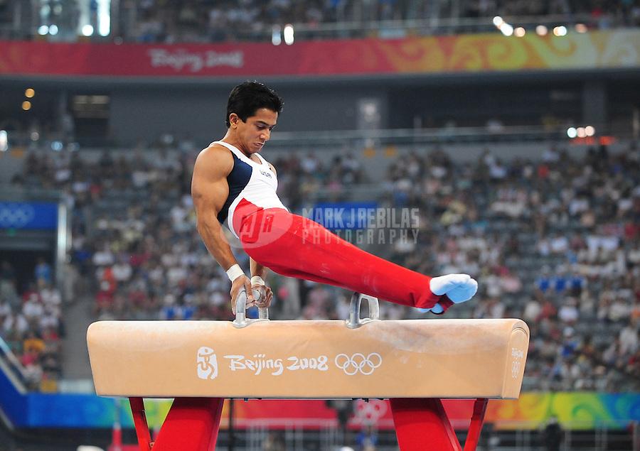 Aug. 9, 2008; Beijing, CHINA; Raj Bhavsar (USA) performs on the pommel horse during mens gymnastics qualification during the Olympics at the National Indoor Stadium. Mandatory Credit: Mark J. Rebilas-