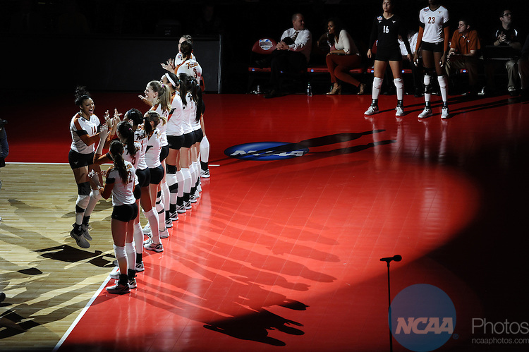 13 DEC 2012: The University of Texas takes on The University of Michigan during the semifinal games of the Division I Woman's Volleyball Championship held at the KFC Yum Center in Louisville, KY. Stephen Nowland/Rich Clarkson and Associates, LLC