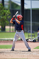 GCL Nationals shortstop Jesus Morales (2) at bat during a game against the GCL Astros on August 6, 2018 at FITTEAM Ballpark of the Palm Beaches in West Palm Beach, Florida.  GCL Astros defeated GCL Nationals 3-0.  (Mike Janes/Four Seam Images)