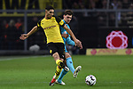 01.12.2018, Signal Iduna Park, Dortmund, GER, DFL, BL, Borussia Dortmund vs SC Freiburg, DFL regulations prohibit any use of photographs as image sequences and/or quasi-video<br /> <br /> im Bild v. li. im Zweikampf Achraf Hakimi (#5, Borussia Dortmund) Pascal Stenzel (#15, SC Freiburg) <br /> <br /> Foto © nordphoto/Mauelshagen