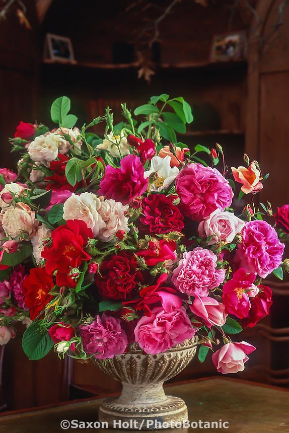 Large floral arrangement of old roses