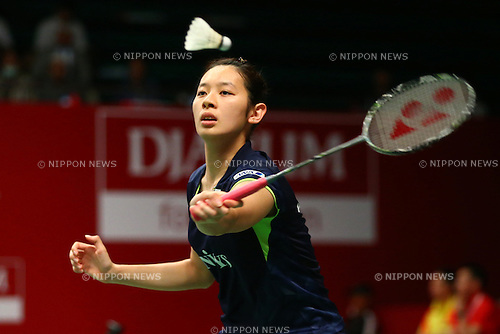Sayaka Takahashi (JPN), AUGUST 12, 2015 - Badminton : TOTAL BWF World Championships 2015 Women's Doubles 2nd round match at Istora Senayan Arena, Jakarta, Indonesia. (Photo by Shingo Ito/AFLO SPORT)