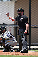 Umpire Matt Scott makes a call during a game between the GCL Pirates and GCL Phillies on June 26, 2014 at the Carpenter Complex in Viera, Florida.  GCL Phillies defeated the GCL Pirates 6-2.  (Mike Janes/Four Seam Images)