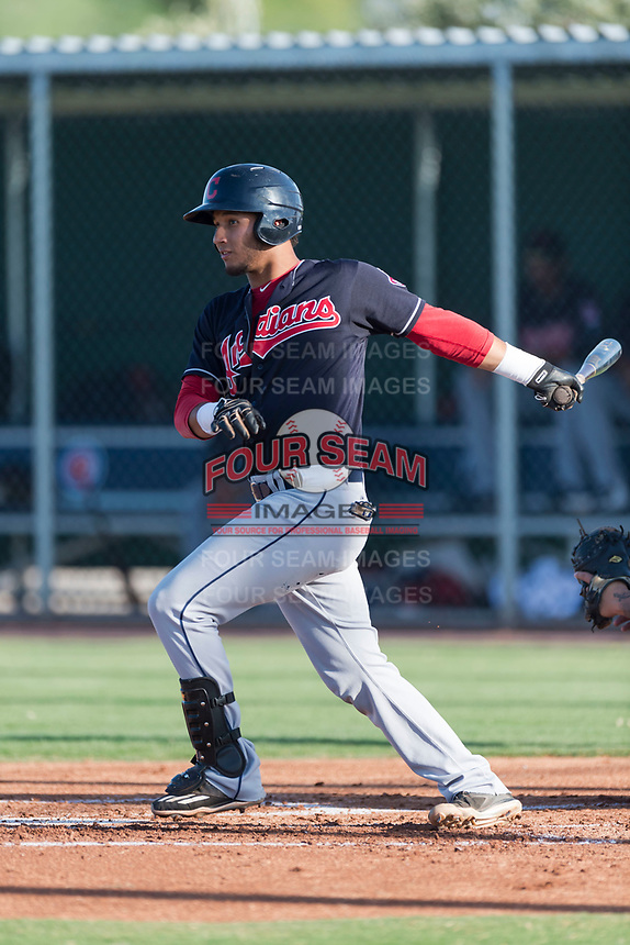 AZL Indians 1 first baseman Miguel Jerez (26) follows through on his swing during an Arizona League game against the AZL Cubs 1 at Sloan Park on August 27, 2018 in Mesa, Arizona. The AZL Cubs 1 defeated the AZL Indians 1 by a score of 3-2. (Zachary Lucy/Four Seam Images)