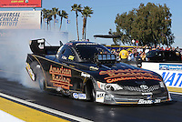 Feb. 22, 2013; Chandler, AZ, USA; NHRA funny car driver Tony Pedregon during qualifying for the Arizona Nationals at Firebird International Raceway. Mandatory Credit: Mark J. Rebilas-