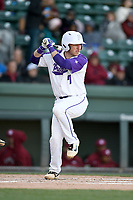 Third baseman Logan Taplett (7) of the Furman Paladins bats in a game against the South Carolina Gamecocks on Tuesday, March 19, 2019, at Fluor Field at the West End in Greenville, South Carolina. South Carolina won, 12-7. (Tom Priddy/Four Seam Images)