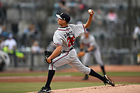 Starting pitcher Alan Rangel (26) of the Rome Braves delivers a pitch in a game against the Columbia Fireflies on Monday, July 3, 2017, at Spirit Communications Park in Columbia, South Carolina. Columbia won, 1-0. (Tom Priddy/Four Seam Images)