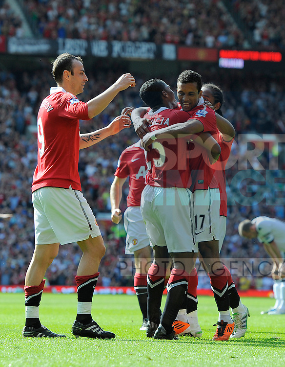 Luis Antonio Valencia of Manchester United celebrates his goal with Nani of Manchester United