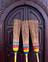 Brooms at the Shwe Yan Pyay Monastery, made entirely out of Teak, near Inle Lake, Myanmar, Burma