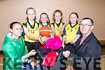 Noelle Scanlon and Pj Hillard with the girls from St Brigids basketball club Aoife Roche, Ailbe Fleming, Sarah Scanlon and Ella Fitzgerald who are asking people to donate old clothes to their collection on Saturday 24th September
