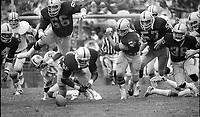 Oakland Raider after Detroit Lions fumble.<br />Steve Sylvester, Jeff Barnes, Pete Banaszak, John Huddleston,  (1978 photo/Ron Riesterer)