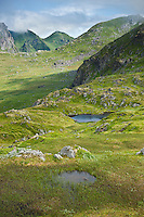 Rugged mountain landscape in summer, near Justadtind, Vestvagoy, Lofoten islands, Norway