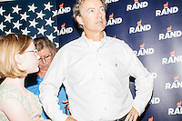 Kentucky senator and Republican presidential candidate Rand Paul greets people after speaking at a town hall campaign event at Kilton Library in West Lebanon, New Hampshire.