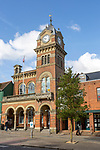 Town hall tower town centre of Hungerford, Berkshire, England, UK built 1870 by Ernest Prestwick