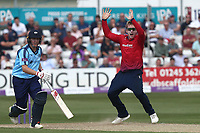 Simon Harmer of Essex with an appeal during Essex Eagles vs Yorkshire Vikings, Royal London One-Day Cup Play-Off Cricket at The Cloudfm County Ground on 14th June 2018
