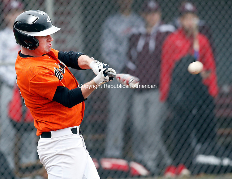 Naugatuck, CT- 08 April 2015-040815CM07- Watertown's Akex Burr makes contact during an at-bat against Naugatuck at Rotary Field on Wednesday.   Christopher Massa Republican-American