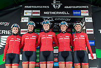 Picture by Allan McKenzie/SWpix.com - 15/05/2018 - Cycling - OVO Energy Tour Series Womens Race - Round 2:Motherwell - Team Breeze at sign on. (l-r) Megan Barker, Jess Roberts, Abbie Dentus, Jenny Holl and Rebecca Raybould.