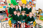 Eight new juniors started school in Aghatubrid NS on Wednesday pictured front l-r; Doireann Lynch, Jack Kelly, Michaela Kelly, Kate O'Neill, back l-r; Niall O'Shea, Willow Comyn, Sinead O'Sullivan(Principal), Rebecca O'Neill & Sofia Cournane.