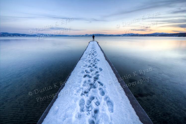 Lake Tahoe Snowy Dock Vanishing Point, Spring 2011