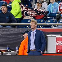 Foxborough, Massachusetts - July 29, 2017: In a Major League Soccer (MLS) match, New England Revolution (blue/white) defeated Philadelphia Union (white), 3-0, at Gillette Stadium.