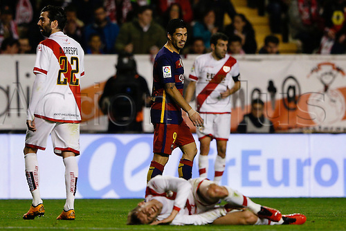 03.03.2016. Madrid, Spain.  Luis Alberto Suarez Diaz (9) FC Barcelona . La Liga match between Rayo Vallecano and FC Barcelona at the Vallecas stadium in Madrid, Spain