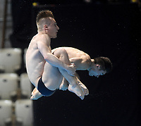 Great Britain's Daniel Goodfellow and Jack Laugher Compete in the Men's 3m Synchro Springboard<br /> <br /> Photographer Hannah Fountain/CameraSport<br /> <br /> FINA/CNSG Diving World Series 2019 - Day 1 - Friday 17th May 2019 - London Aquatics Centre - Queen Elizabeth Olympic Park - London<br /> <br /> World Copyright © 2019 CameraSport. All rights reserved. 43 Linden Ave. Countesthorpe. Leicester. England. LE8 5PG - Tel: +44 (0) 116 277 4147 - admin@camerasport.com - www.camerasport.com