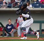 "Aces Abraham Almonte (7) squares to bunt during the Reno Aces ""Star Wars Night"" in Reno on Saturday, June 8, 2019."
