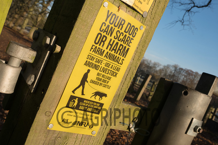 NFU sign on a field gate warning dog owners to keep dogs on a lead <br /> Picture Tim Scrivener 07850 303986<br /> &hellip;.covering agriculture in the UK&hellip;.