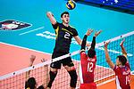 18.09.2019, Lotto Arena, Antwerpen<br />Volleyball, Europameisterschaft, Deutschland (GER) vs. Slowakei (SVK)<br /><br />Angriff Tobias Krick (#2 GER) - Block / Doppelblock Matej Patak (#12 SVK), Simon Krajcovic (#14 SVK)<br /><br />  Foto © nordphoto / Kurth