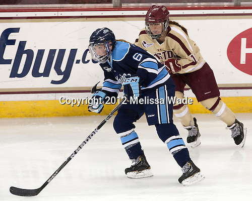 Brittney Huneke (Maine - 6), Caitlin Walsh (BC - 11) - The Boston College Eagles defeated the visiting University of Maine Black Bears 10-0 on Saturday, December 1, 2012, at Kelley Rink in Conte Forum in Chestnut Hill, Massachusetts.