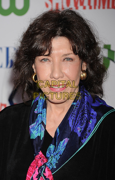Lily Tomlin.arriving at the TCA Party for CBS, The CW and Showtime held at The Pagoda in Beverly Hills, California, USA,.August 3rd, 2011. .portrait headshot  blue print scarf black .CAP/ROT/TM.©TM/Roth Stock/Capital PicturesSamantha Harris