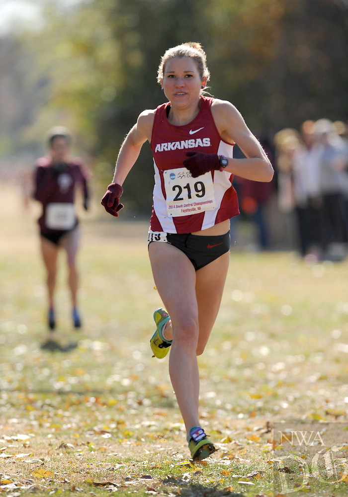 NWA Media/ANDY SHUPE - Arkansas' Diane Robison (219) nears the finish during the NCAA Cross Country South Central Regional Friday, Nov. 14, 2014, at Agri Park in Fayetteville.