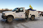 An Activists pull sentry duty at the Malheur National Wildlife Reserve on January 15, 2016 in Burns, Oregon.  Ammon Bundy and about 20 other protesters took over the refuge on Jan. 2 after a rally to support the imprisoned local ranchers Dwight Hammond Jr., and his son, Steven Hammond.   ©2016. Jim Bryant Photo. All Rights Reserved.