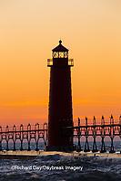 64795-01204 Grand Haven South Pier Lighthouse at sunset on Lake Michigan, Ottawa County, Grand Haven, MI
