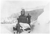 RGS 4-6-0 #25 with a butterfly plow in fairly deep snow near the Gallagher trestles.<br /> RGS  Gallagher, CO