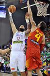 Serbia´s RADULJICA, Miroslav  and Spain's GASOL, Pau during 2014 FIBA Basketball World Cup Group Phase-Group A, match Serbia vs Spain. Palacio  Deportes of Granada. September 4,2014. (ALTERPHOTOS/Raul Perez)
