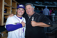 Winston-Salem Dash manager Justin Jirschele (9) poses for a photo with Chicago White Sox Player Development Assistant Tommy Thompson prior to the game against the Wilmington Blue Rocks at BB&T Ballpark on April 16, 2019 in Winston-Salem, North Carolina. The Blue Rocks defeated the Dash 4-3. (Brian Westerholt/Four Seam Images)