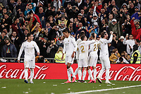 1st March 2020; Estadio Santiago Bernabeu, Madrid, Spain; La Liga Football, Real Madrid versus Club de Futbol Barcelona; Mariano Diaz (Real Madrid)  celebrates his goal which made it 2-0 in the 92nd minute