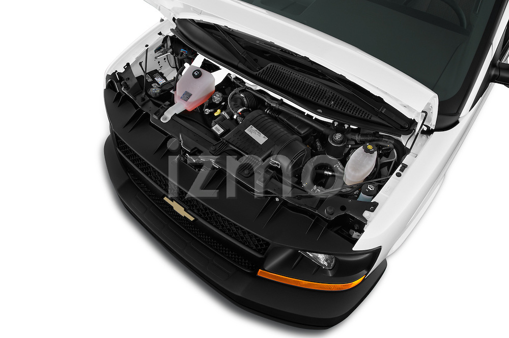 Car Stock 2016 Chevrolet Express-Cargo 2500-Work-Van-HD 4 Door Cargo Van Engine  high angle detail view