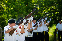 NWA Democrat-Gazette/JASON IVESTER<br /> Ed Kratky and other members of the honor guard fire in a rifle salute Monday, May 29, 2017, during the Memoral Day Program at the American Legion Post 341 in Bella Vista.