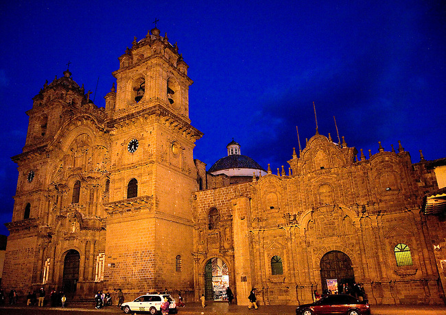 CUZCO PERU CATHOLIC CHURCH IN EARLY EVENING