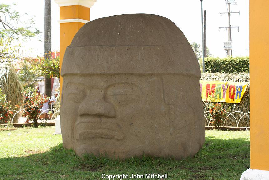 Collossal Olmec head in the main square of Santiago Tuxtla, Veracruz, Mexico. Known as the Cobata head, this is the largest known Olmec head.