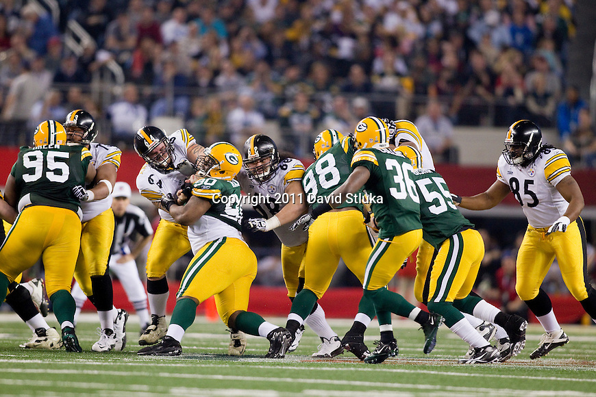 Pittsburgh Steelers offensive linemen block against the defense of the Green Bay Packers during Super Bowl XLV on Sunday, February 6, 2011, in Arlington, Texas. The Packers won 31-25. (AP Photo/David Stluka)