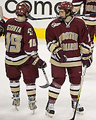 Stephen Gionta, Dan Bertram - The Boston University Terriers defeated the Boston College Eagles 2-1 in overtime in the March 18, 2006 Hockey East Final at the TD Banknorth Garden in Boston, MA.