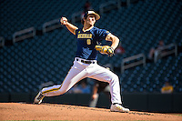 Ryan Nutof (8) of the Michigan Wolverines pitches during a 2015 Big Ten Conference Tournament game between the Iowa Hawkeyes and Michigan Wolverines at Target Field on May 20, 2015 in Minneapolis, Minnesota. (Brace Hemmelgarn/Four Seam Images)