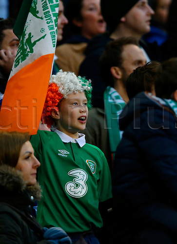 29.03.2016. Aviva Stadium, Dublin, Ireland. International Football Friendly Rep. of Ireland versus Slovakia. <br /> An Irish fan cheers on the team.