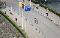 race leaders Jos&eacute; Gon&ccedil;alves (POR/Katusha-Alpecin) &amp; Laurens De Plus (BEL/QuickStep Floors) over the Gileppe Dam<br /> <br /> Ster ZLM Tour (2.1)<br /> Stage 4: Hotel Verviers &gt; La Gileppe (Jalhay)(190km)