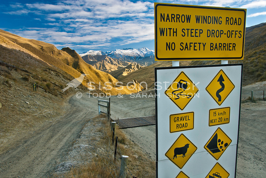 Dangers road sign, Skippers Canyon, Central Otago, South Island, New Zealand